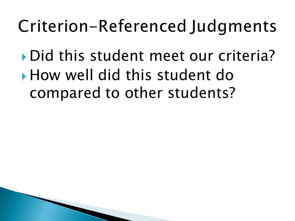 Did this student meet our criteria? How well did this student do compared to other students?