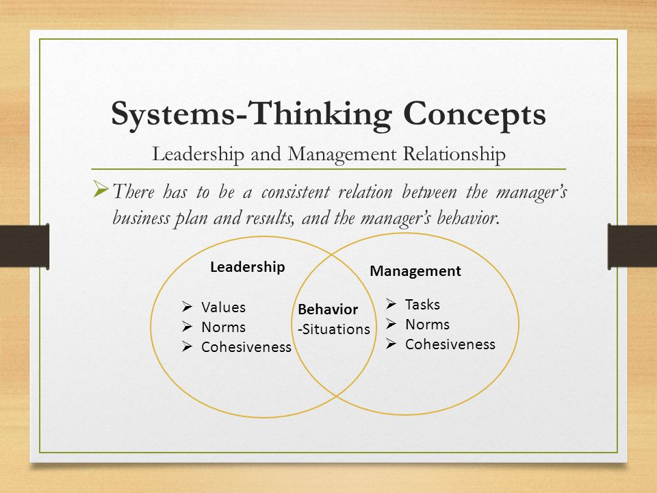 Systems-Thinking Concepts Leadership and Management Relationship There has to be a consistent relation between the managers business plan and results,