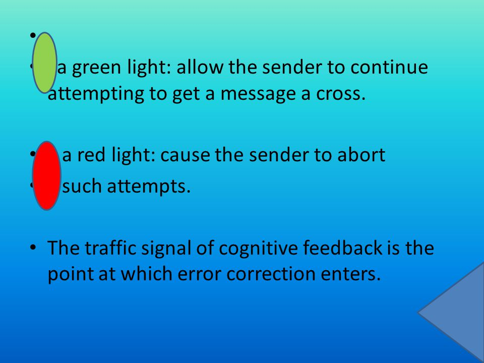 a green light: allow the sender to continue attempting to get a message a cross.