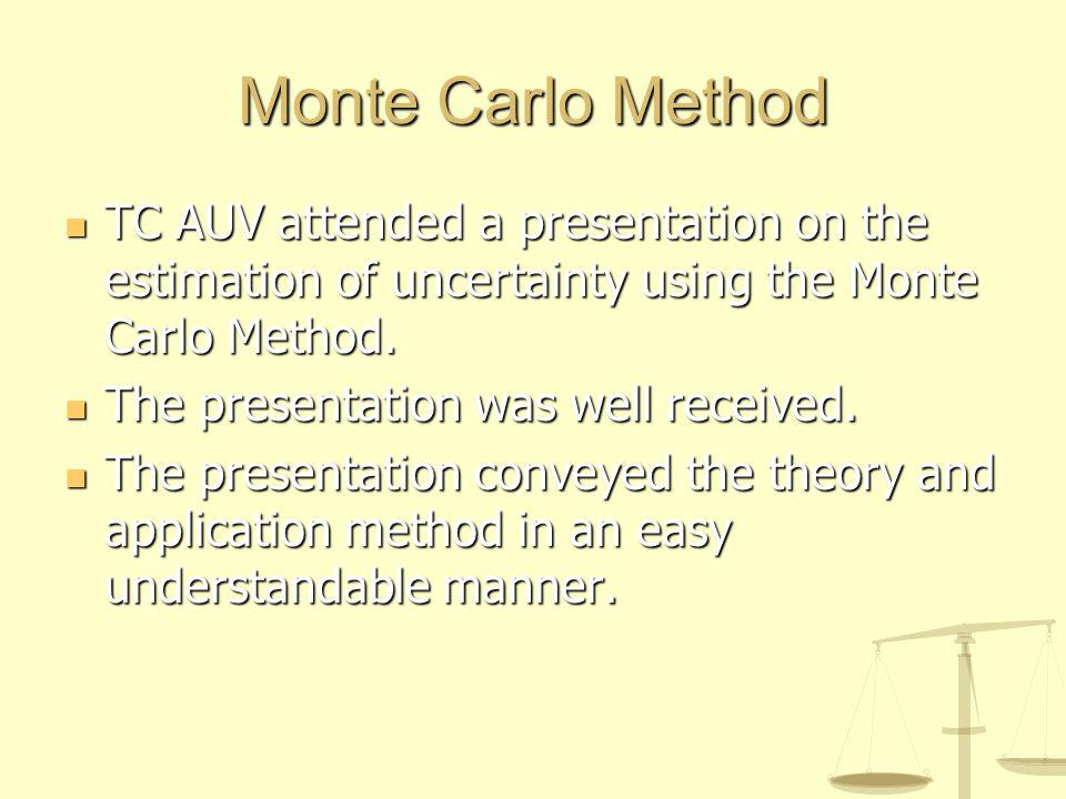 Monte Carlo Method TC AUV attended a presentation on the estimation of uncertainty using the Monte Carlo Method.