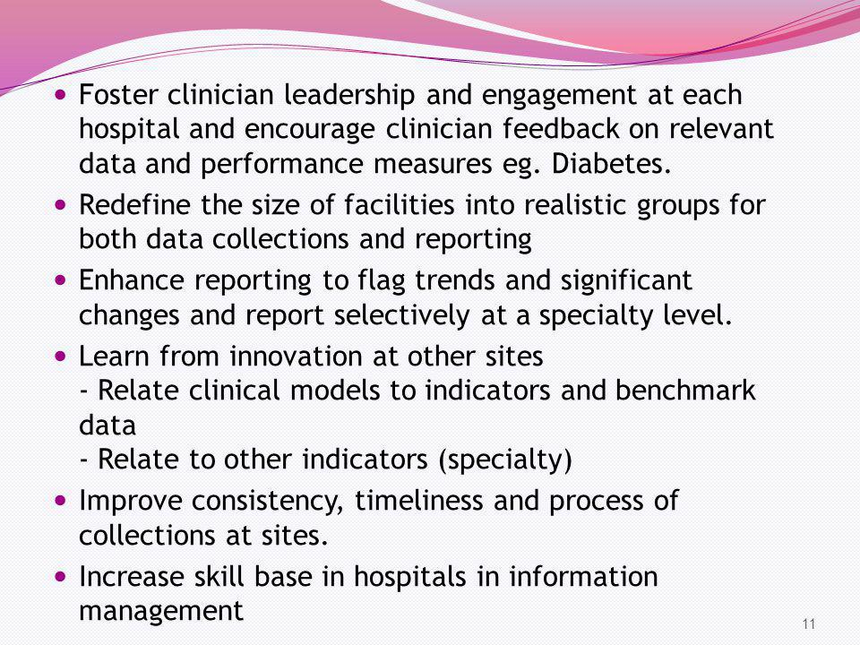 Foster clinician leadership and engagement at each hospital and encourage clinician feedback on relevant data and performance measures eg. Diabetes. R