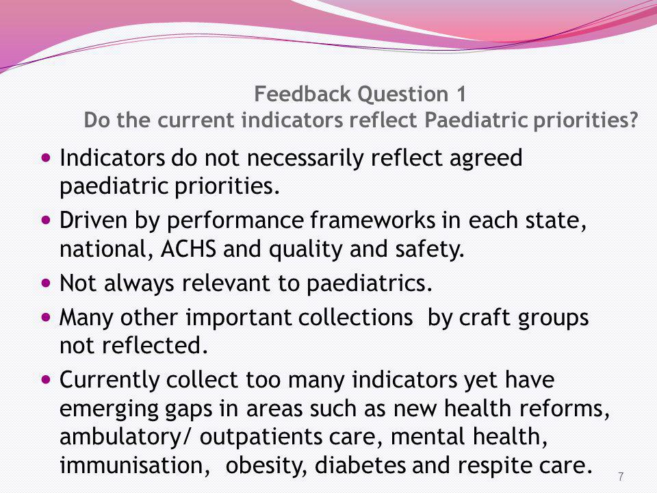Feedback Question 1 Do the current indicators reflect Paediatric priorities? Indicators do not necessarily reflect agreed paediatric priorities. Drive