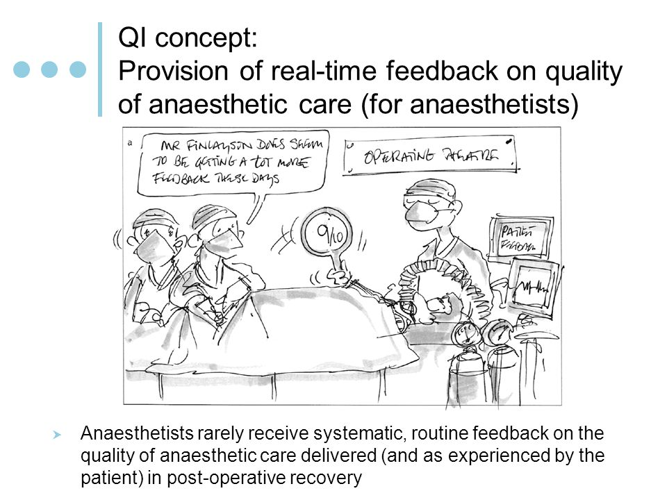 QI concept: Provision of real-time feedback on quality of anaesthetic care (for anaesthetists) Anaesthetists rarely receive systematic, routine feedback on the quality of anaesthetic care delivered (and as experienced by the patient) in post-operative recovery
