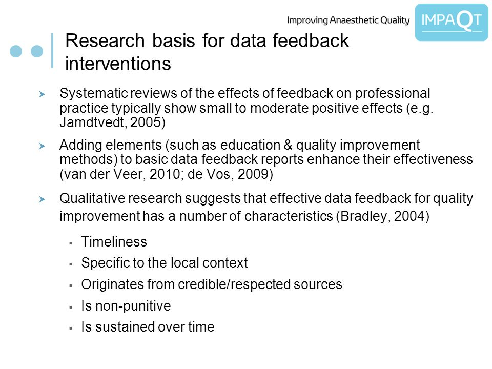 Research basis for data feedback interventions Systematic reviews of the effects of feedback on professional practice typically show small to moderate positive effects (e.g.