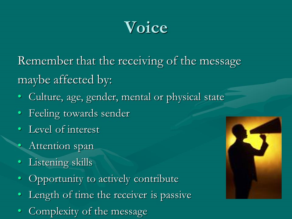 Voice Remember that the receiving of the message maybe affected by: Culture, age, gender, mental or physical state Culture, age, gender, mental or phy