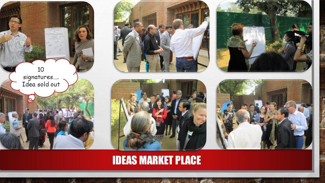 IDEAS MARKET PLACE 10 signatures…. Idea sold out
