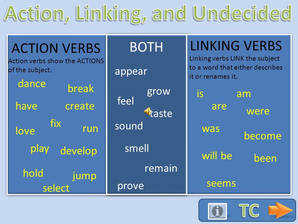 ACTION VERBS LINKING VERBS dance have break fix love run play create select develop hold jump Action verbs show the ACTIONS of the subject.