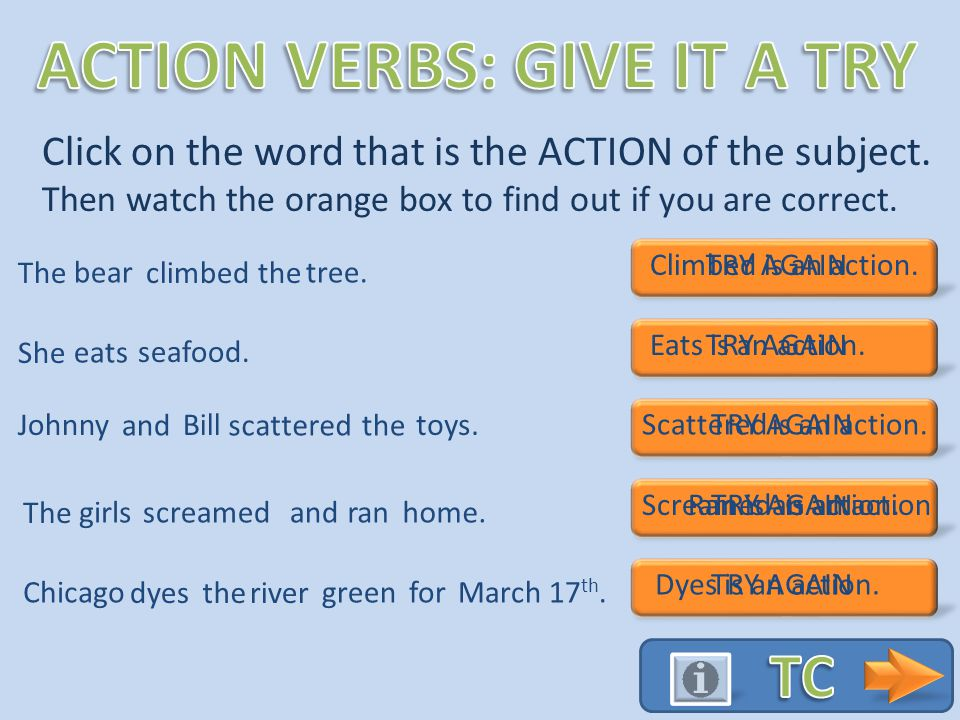 Action verbs describe the ACTION of the subject. These verbs are what you DO He the rock.