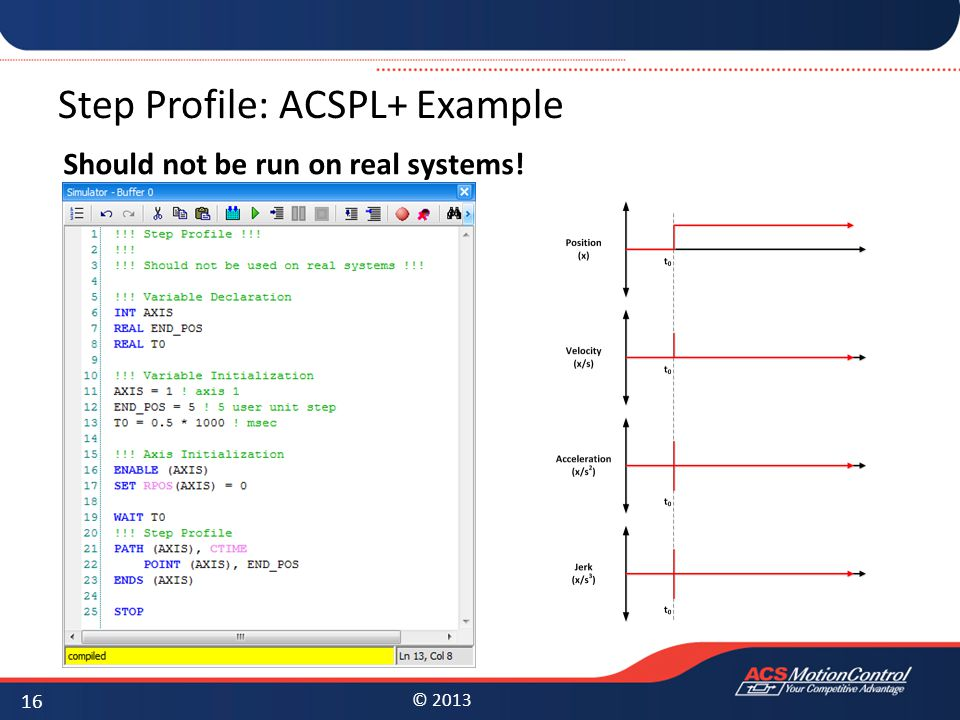© 2013 Step Profile: ACSPL+ Example Should not be run on real systems! 16