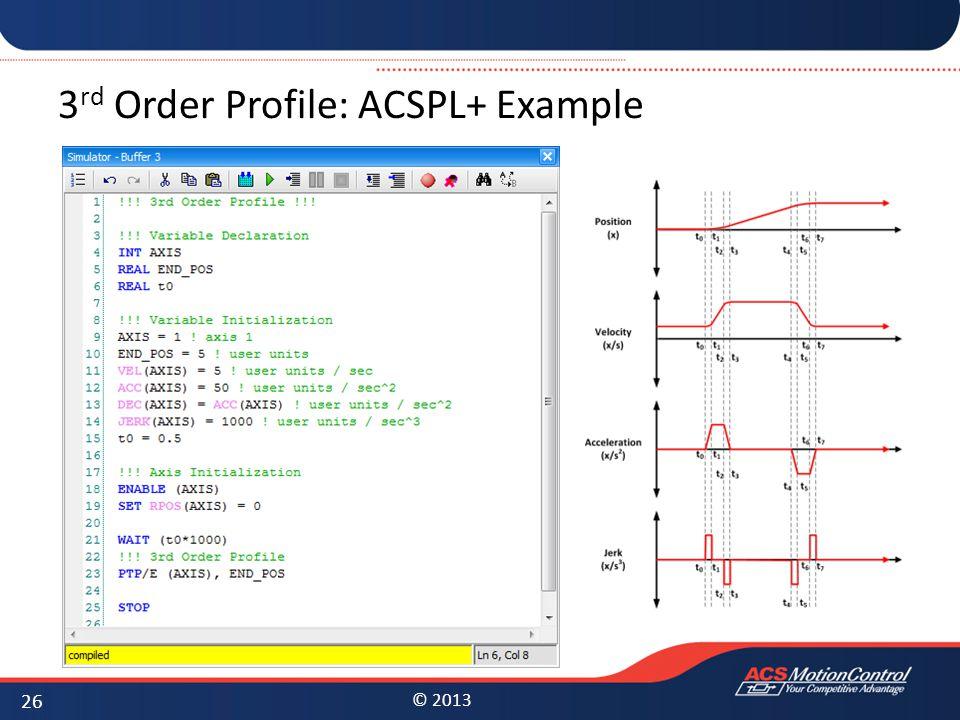 © 2013 3 rd Order Profile: ACSPL+ Example 26