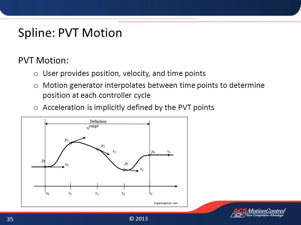 © 2013 Spline: PVT Motion PVT Motion: o User provides position, velocity, and time points o Motion generator interpolates between time points to deter