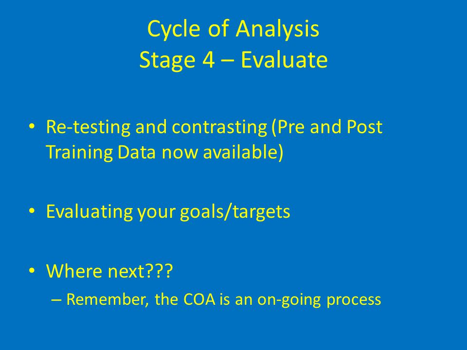 Cycle of Analysis Stage 4 – Evaluate Re-testing and contrasting (Pre and Post Training Data now available) Evaluating your goals/targets Where next???
