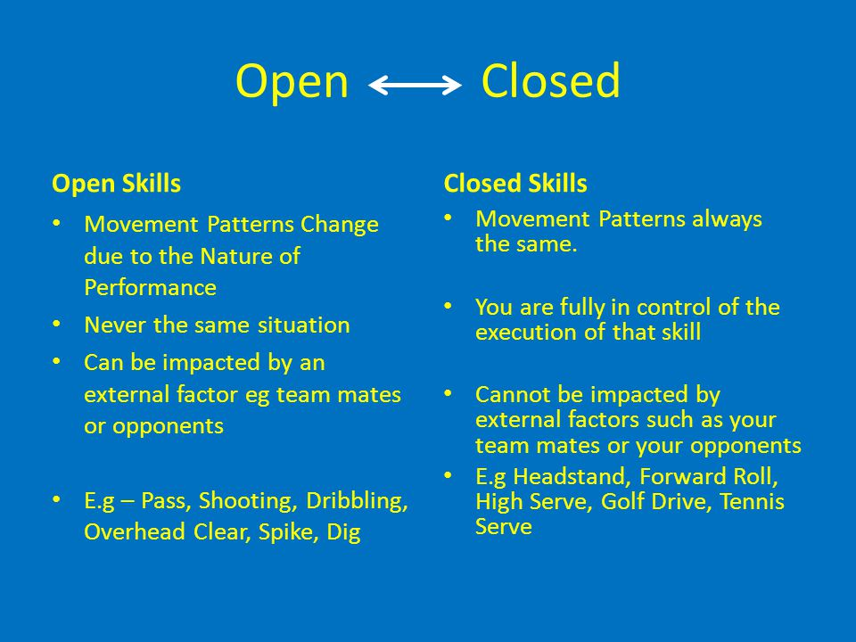 Open Closed Open Skills Movement Patterns Change due to the Nature of Performance Never the same situation Can be impacted by an external factor eg te