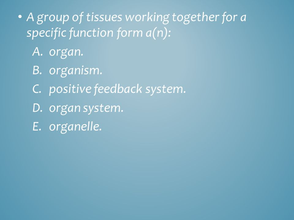 A group of tissues working together for a specific function form a(n): A.organ. B.organism. C.positive feedback system. D.organ system. E.organelle.