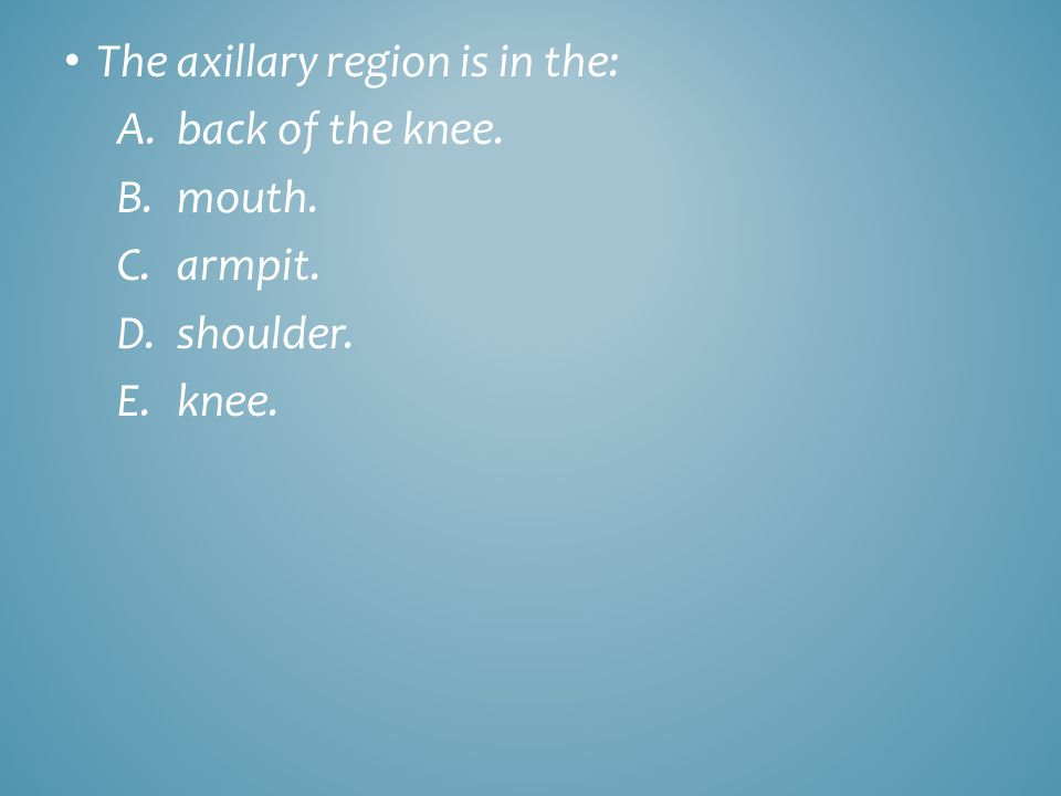 The axillary region is in the: A.back of the knee. B.mouth. C.armpit. D.shoulder. E.knee.