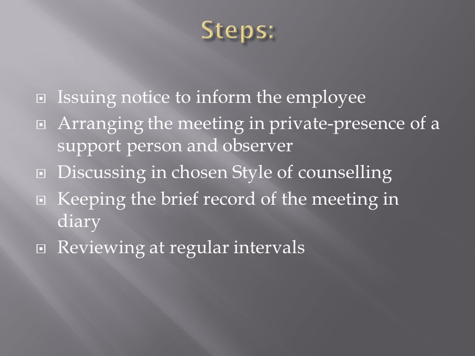 Issuing notice to inform the employee Arranging the meeting in private-presence of a support person and observer Discussing in chosen Style of counselling Keeping the brief record of the meeting in diary Reviewing at regular intervals
