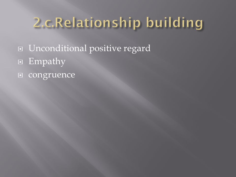 Unconditional positive regard Empathy congruence