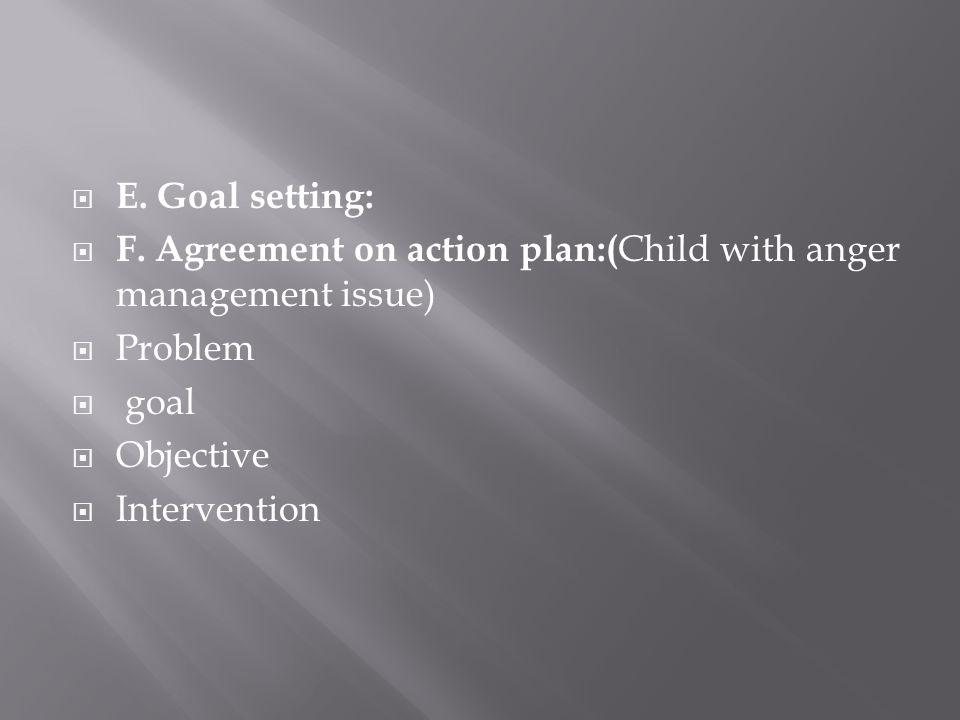 E. Goal setting: F.
