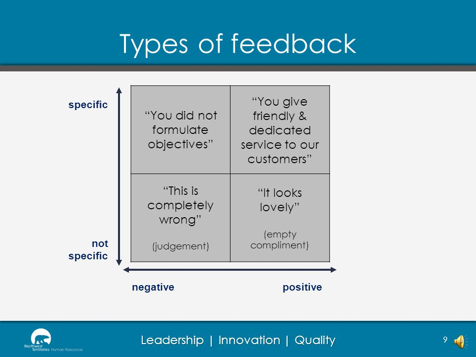Leadership | Innovation | Quality Types of feedback 9 not specific negativepositive specific You did not formulate objectives You give friendly & dedicated service to our customers This is completely wrong (judgement) It looks lovely (empty compliment)