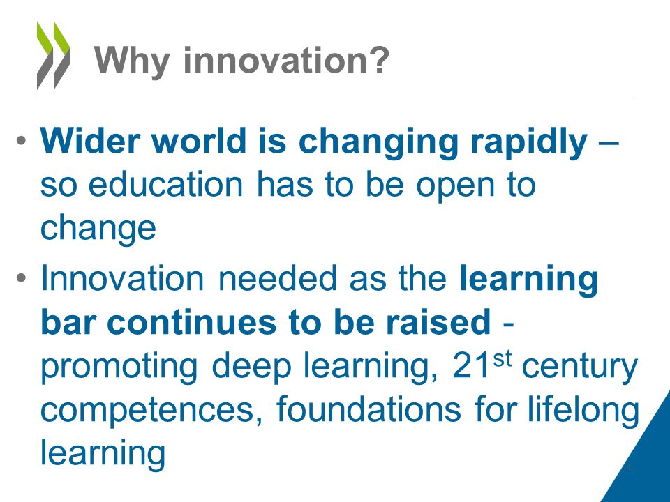 Why innovation? Wider world is changing rapidly – so education has to be open to change Innovation needed as the learning bar continues to be raised -