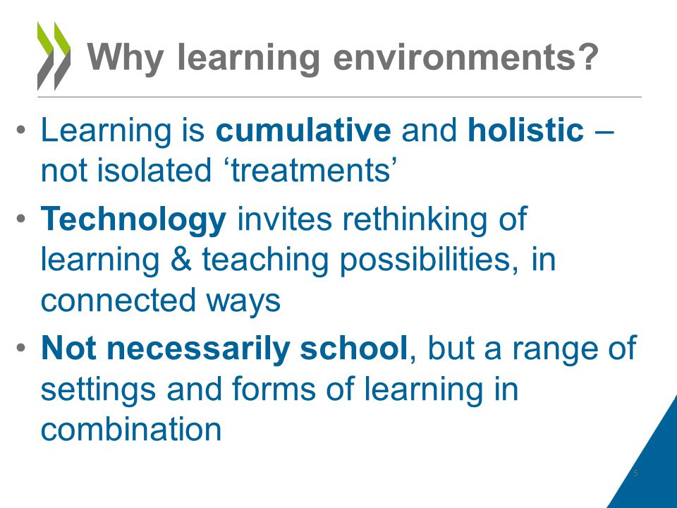 Why learning environments? Learning is cumulative and holistic – not isolated treatments Technology invites rethinking of learning & teaching possibil