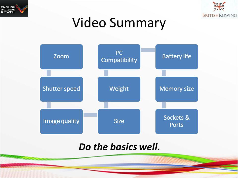 Video Summary ZoomShutter speedImage qualitySizeWeight PC Compatibility Battery lifeMemory size Sockets & Ports Do the basics well.