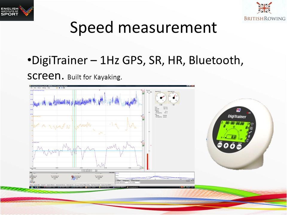 Speed measurement DigiTrainer – 1Hz GPS, SR, HR, Bluetooth, screen. Built for Kayaking.