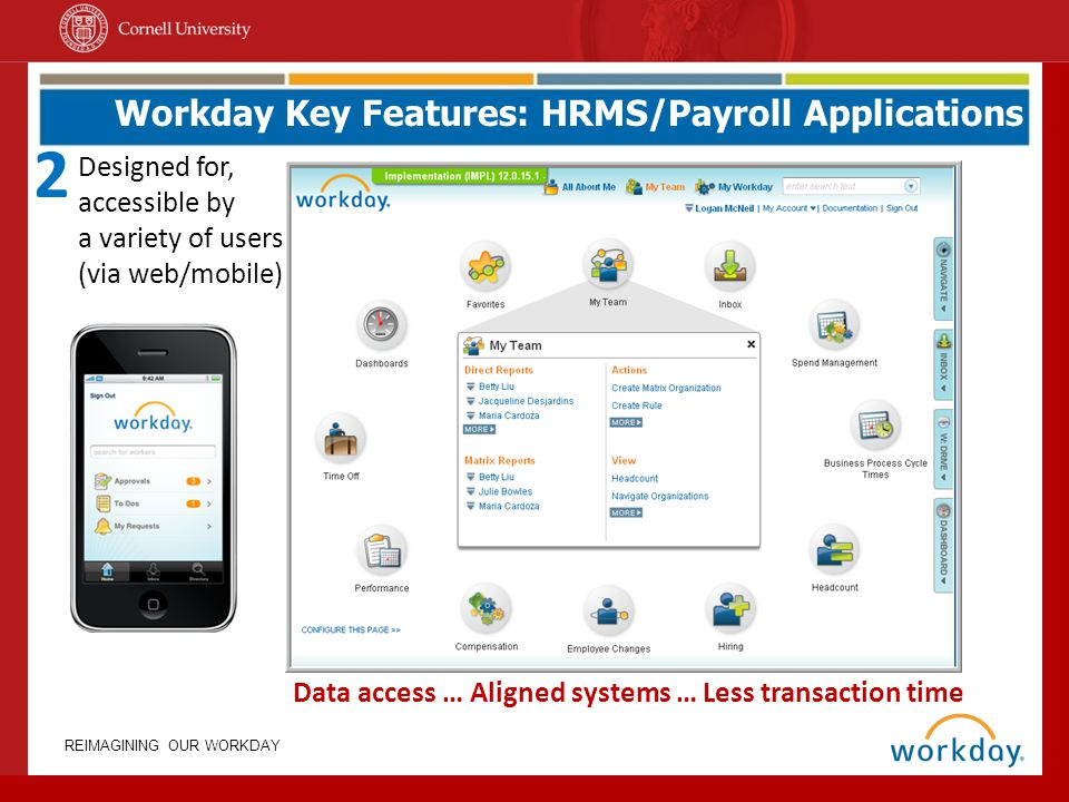 REIMAGINING OUR WORKDAY Workday Key Features: HRMS/Payroll Applications Data access … Aligned systems … Less transaction time Designed for, accessible