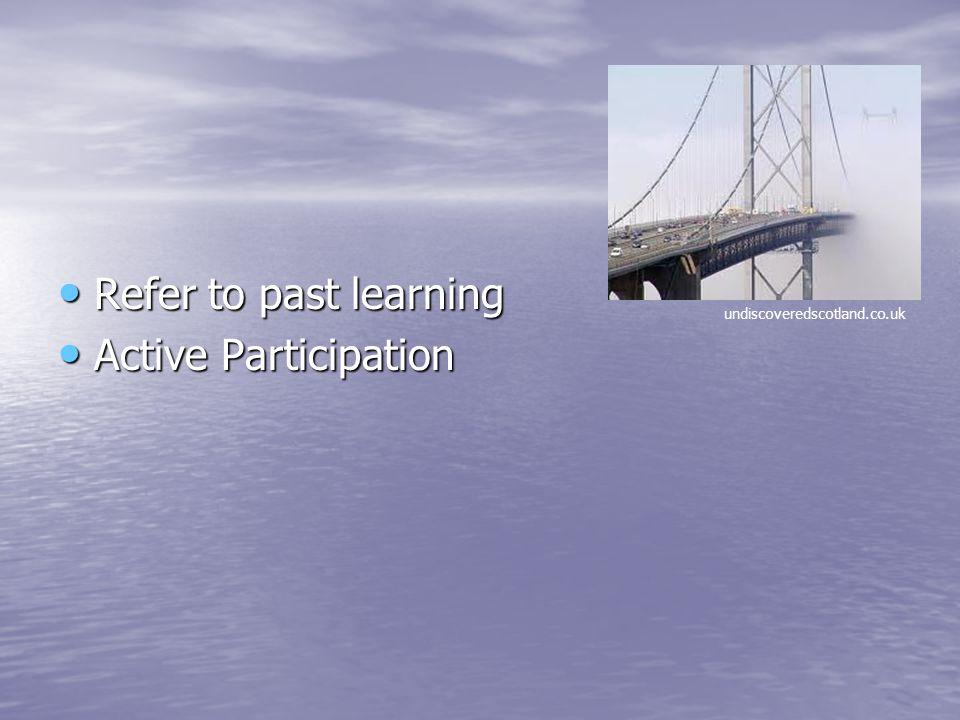 Refer to past learning Refer to past learning Active Participation Active Participation undiscoveredscotland.co.uk
