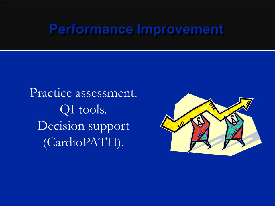 Performance Improvement Practice assessment. QI tools. Decision support (CardioPATH).