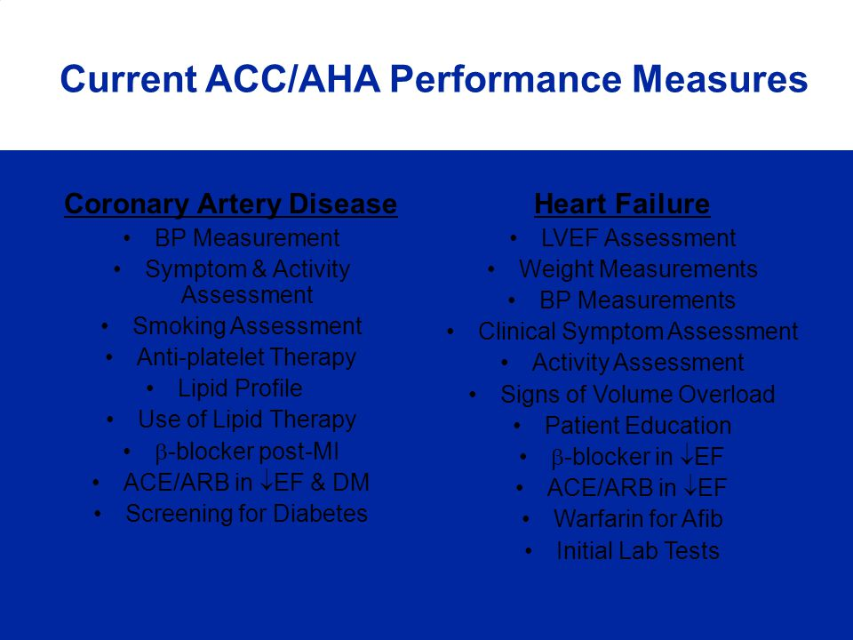 Coronary Artery Disease BP Measurement Symptom & Activity Assessment Smoking Assessment Anti-platelet Therapy Lipid Profile Use of Lipid Therapy -bloc