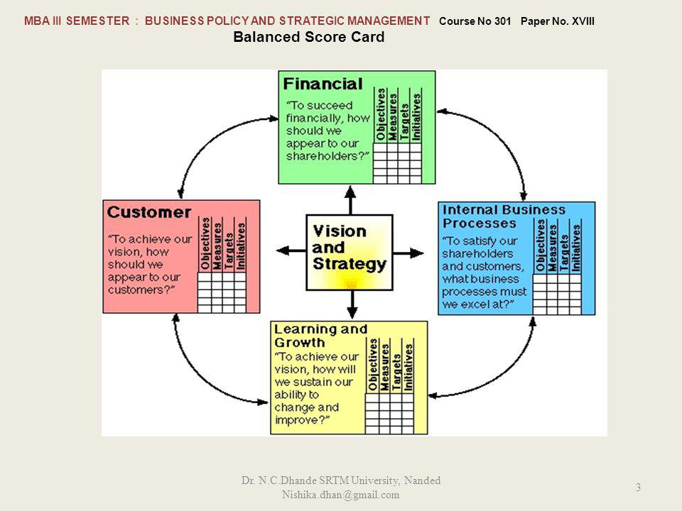 MBA III SEMESTER : BUSINESS POLICY AND STRATEGIC MANAGEMENT Course No 301 Paper No.