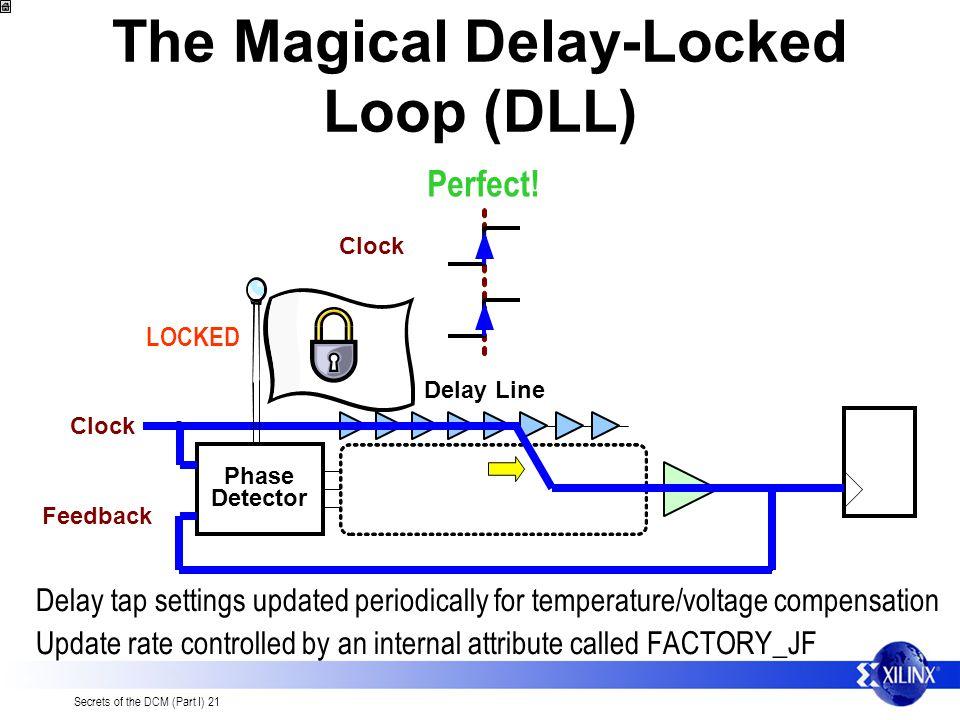 Secrets of the DCM (Part I) 21 The Magical Delay-Locked Loop (DLL) Phase Detector Delay Line Clock Feedback Clock Feedback Perfect.