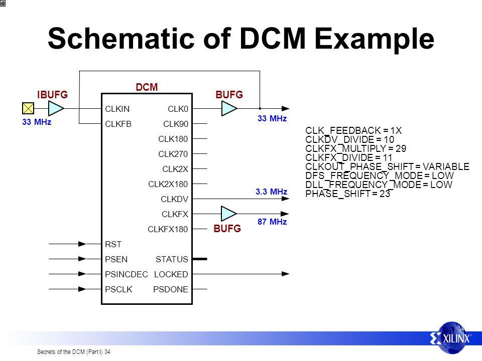 Secrets of the DCM (Part I) 34 Schematic of DCM Example CLK0 CLK90 CLK180 CLK270 CLK2X CLK2X180 CLKDV CLKFX CLKFX180 STATUS LOCKED PSDONE CLKIN CLKFB RST PSEN PSINCDEC PSCLK DCM IBUFGBUFG 33 MHz 3.3 MHz CLK_FEEDBACK = 1X CLKDV_DIVIDE = 10 CLKFX_MULTIPLY = 29 CLKFX_DIVIDE = 11 CLKOUT_PHASE_SHIFT = VARIABLE DFS_FREQUENCY_MODE = LOW DLL_FREQUENCY_MODE = LOW PHASE_SHIFT = 23 87 MHz