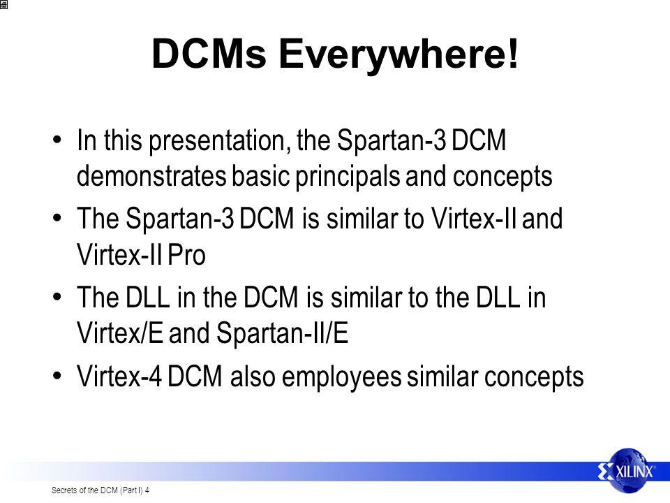 Secrets of the DCM (Part I) 4 DCMs Everywhere.