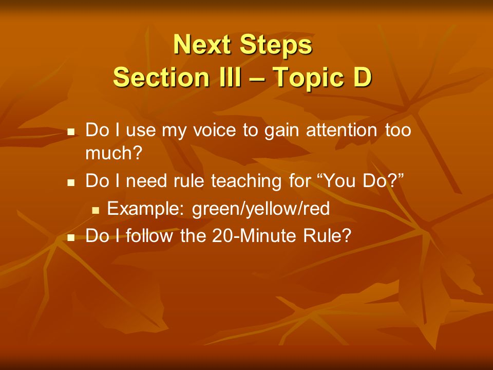 Next Steps Section III – Topic D Do I use my voice to gain attention too much? Do I need rule teaching for You Do? Example: green/yellow/red Do I foll