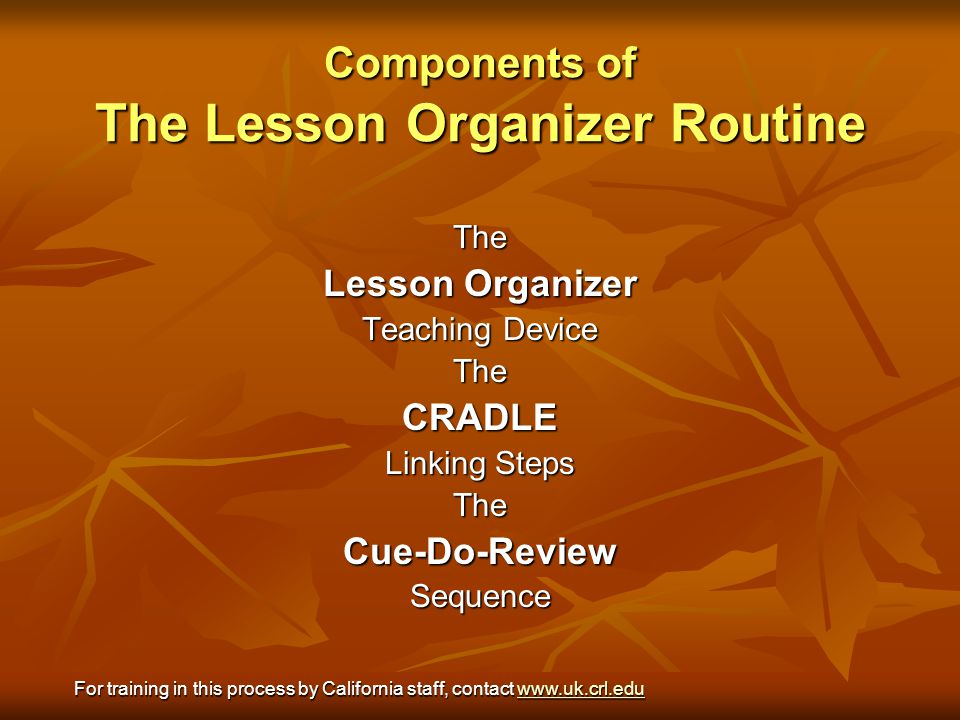 Components of The Lesson Organizer Routine The Lesson Organizer Teaching Device TheCRADLE Linking Steps TheCue-Do-ReviewSequence For training in this