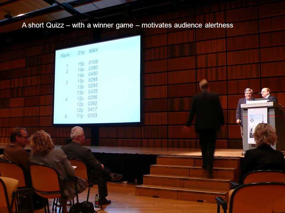 A short Quizz – with a winner game – motivates audience alertness