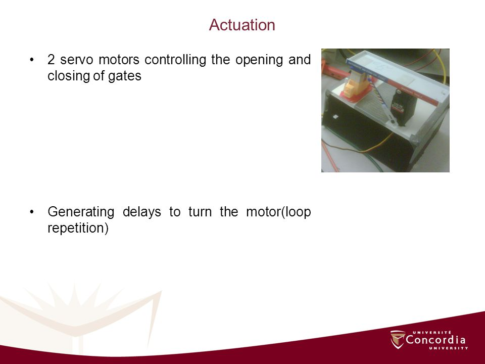 Actuation 2 servo motors controlling the opening and closing of gates Generating delays to turn the motor(loop repetition)