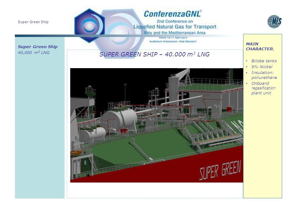 Super Green Ship SUPER GREEN SHIP – 40.000 m 3 LNG Super Green Ship 40,000 m 3 LNG MAIN CHARACTER. Bilobe tanks 9% Nickel Insulation: poliurethane Onb