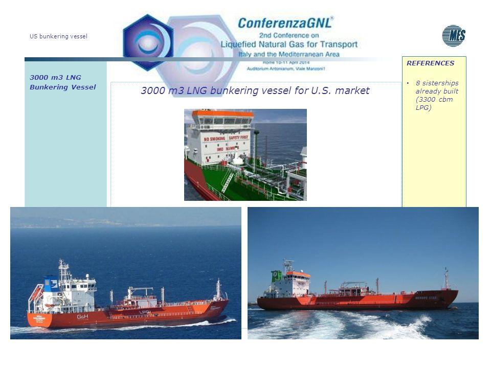 US bunkering vessel 3000 m3 LNG bunkering vessel for U.S. market 3000 m3 LNG Bunkering Vessel REFERENCES 8 sisterships already built (3300 cbm LPG)