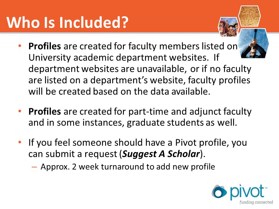 Profiles are created for faculty members listed on University academic department websites.