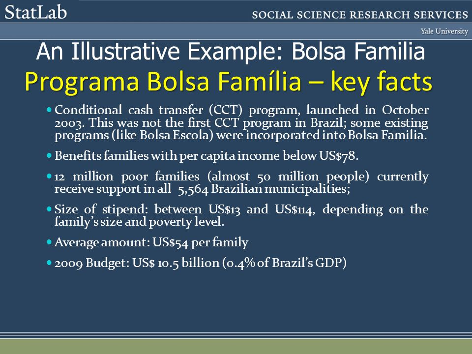Programa Bolsa Família – key facts Conditional cash transfer (CCT) program, launched in October 2003.