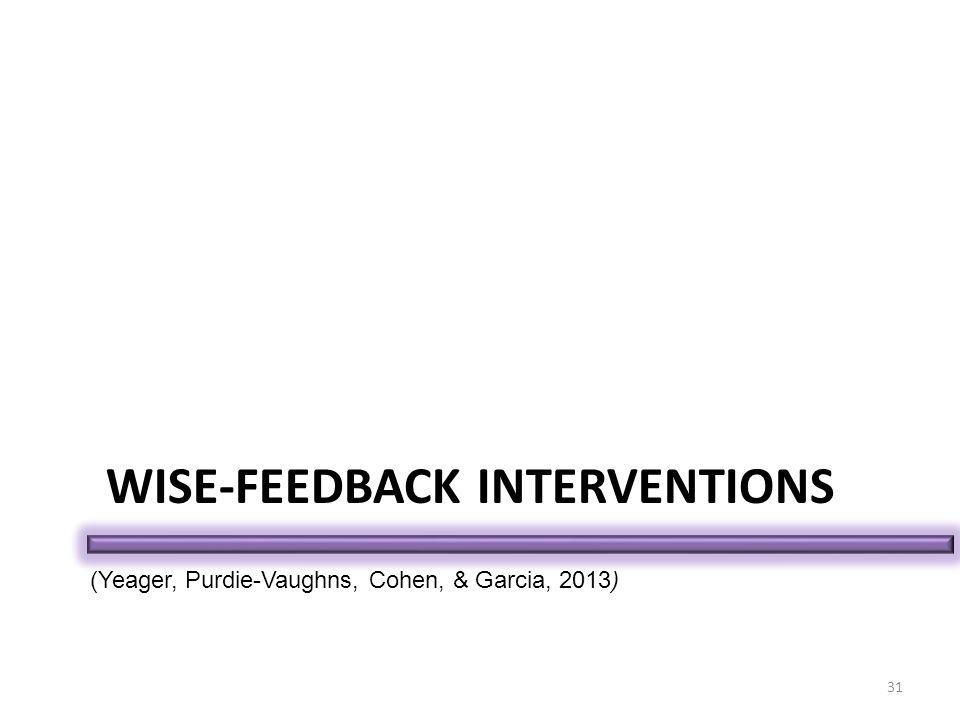 WISE-FEEDBACK INTERVENTIONS 31 (Yeager, Purdie-Vaughns, Cohen, & Garcia, 2013)