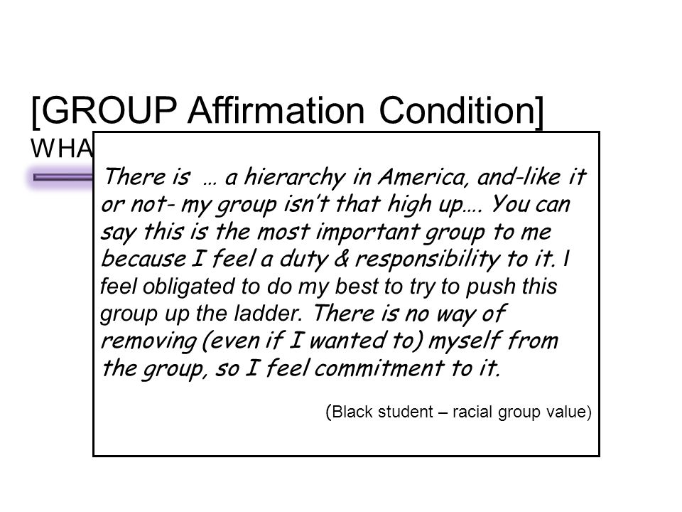 The most important GROUP to me IS: (circle ONE) Choir Racial/ethnic group Athletic Group Church or Religious group Online group/community group Fraternity/Sorority Write about why this group is important to you… [GROUP Affirmation Condition] WHAT GROUPS ARE IMPORTANT TO YOU.