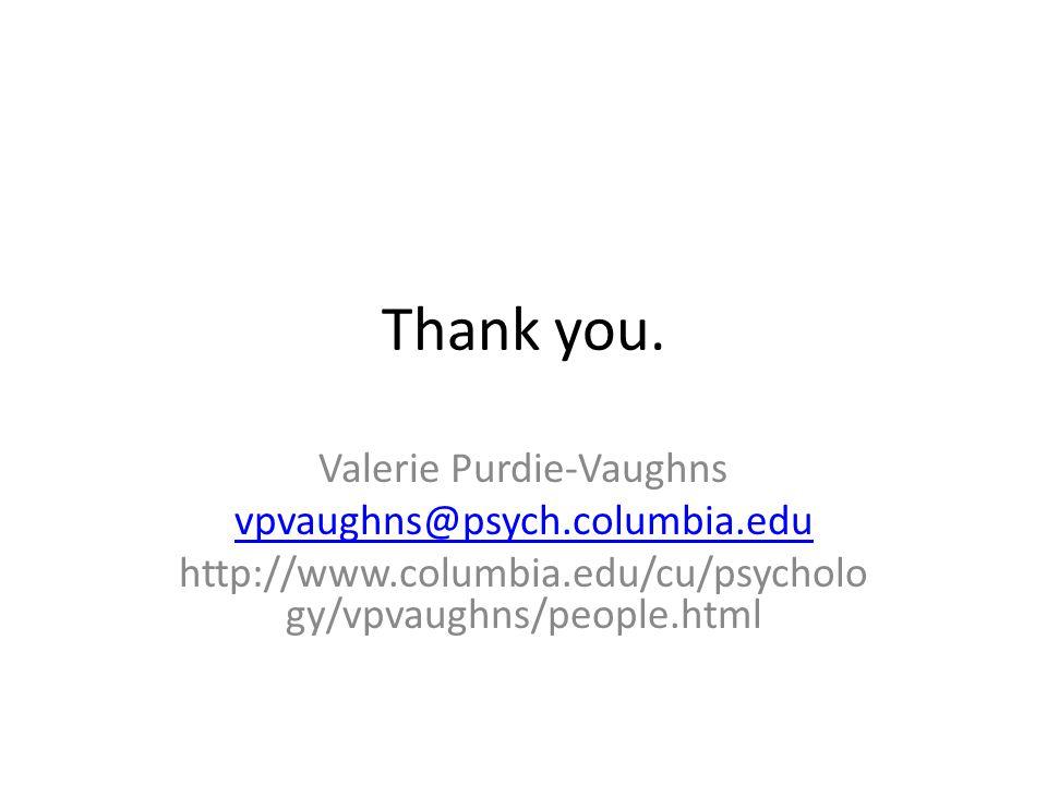Thank you. Valerie Purdie-Vaughns vpvaughns@psych.columbia.edu http://www.columbia.edu/cu/psycholo gy/vpvaughns/people.html