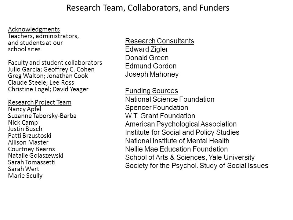 Research Team, Collaborators, and Funders Acknowledgments Teachers, administrators, and students at our school sites Faculty and student collaborators Julio Garcia; Geoffrey C.