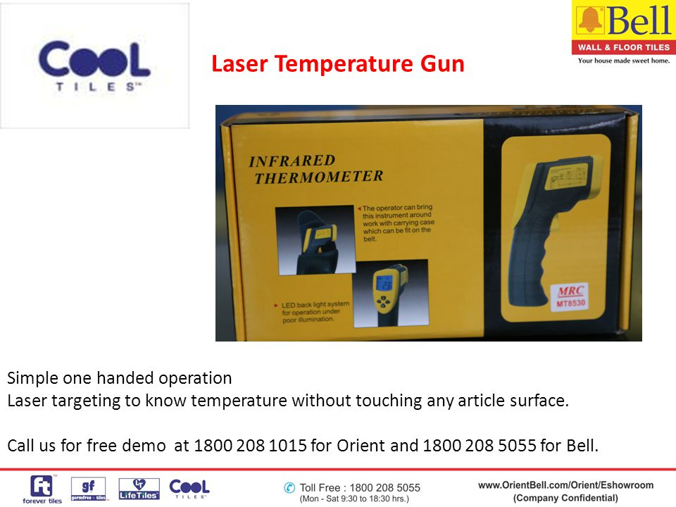Laser Temperature Gun Simple one handed operation Laser targeting to know temperature without touching any article surface. Call us for free demo at 1