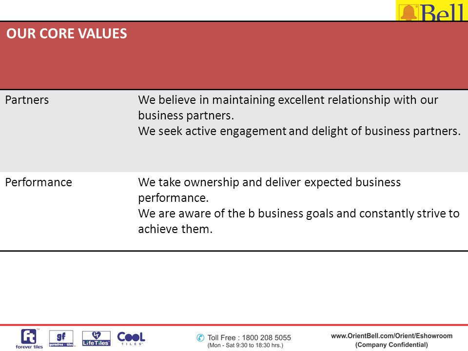 OUR CORE VALUES PartnersWe believe in maintaining excellent relationship with our business partners. We seek active engagement and delight of business