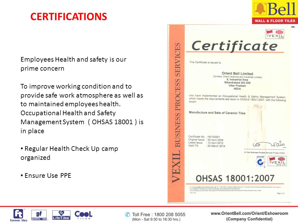 Employees Health and safety is our prime concern To improve working condition and to provide safe work atmosphere as well as to maintained employees h